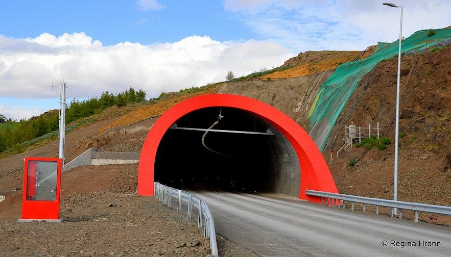 Vaðlaheiðargöng tunnel after it opened up to traffic