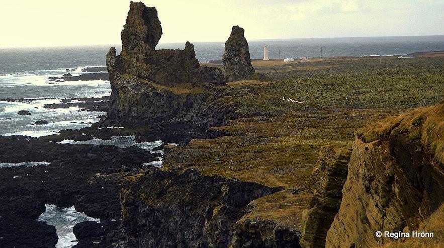 The view of Lóndrangar from Þúfubjarg cliffs Snæfellsnes peninsula