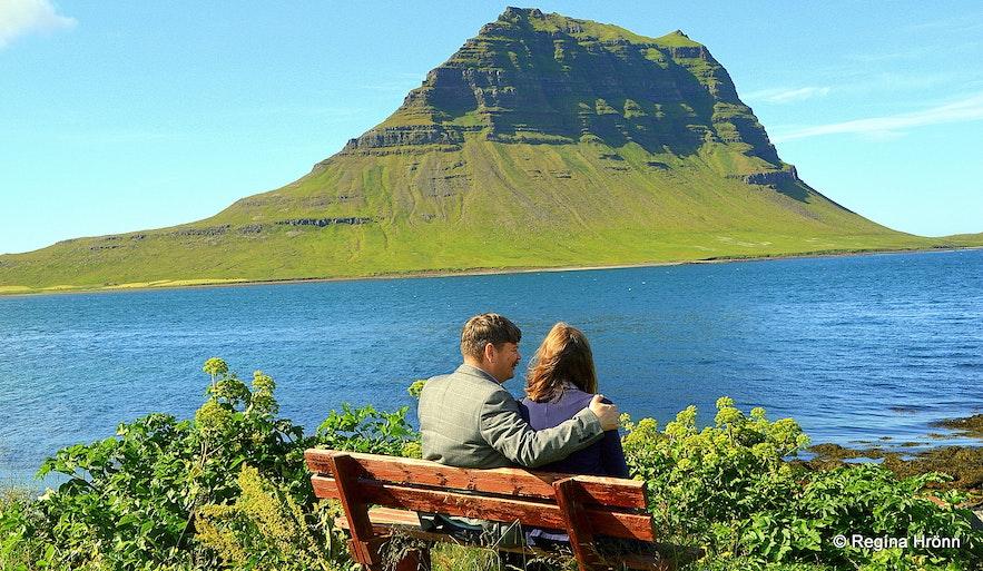 Regína and her husband by Mt. Kirkjufell Grundarfjörður