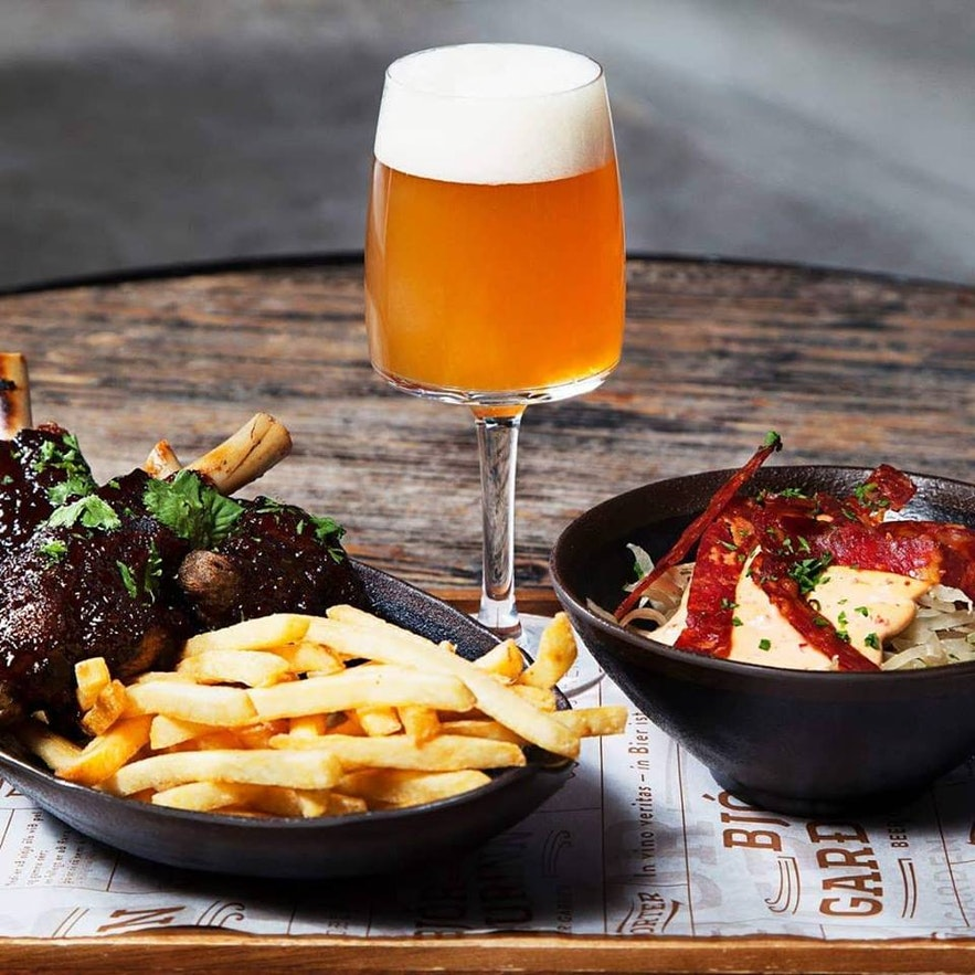 Find a perfect craft beer to complement your meal at the Beer Garden in Reykjavik.