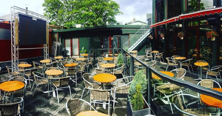 There is great outdoor seating for summer days in Iceland at the Bastard Brew and Bar.