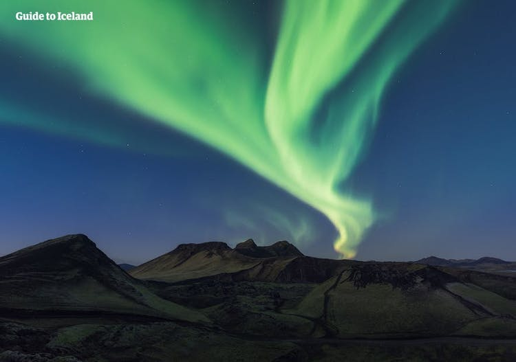 The Northern Lights bring vivid colour to the skies of Iceland in winter.