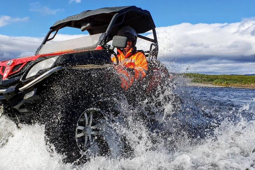 Splashing through pruddles and rivers is part of the fun of driving a buggy.