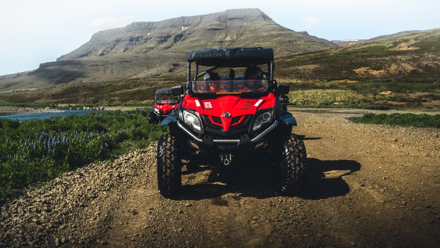 The author is excited to get going on a buggy tour close to Mount Esja, Reykjavík.