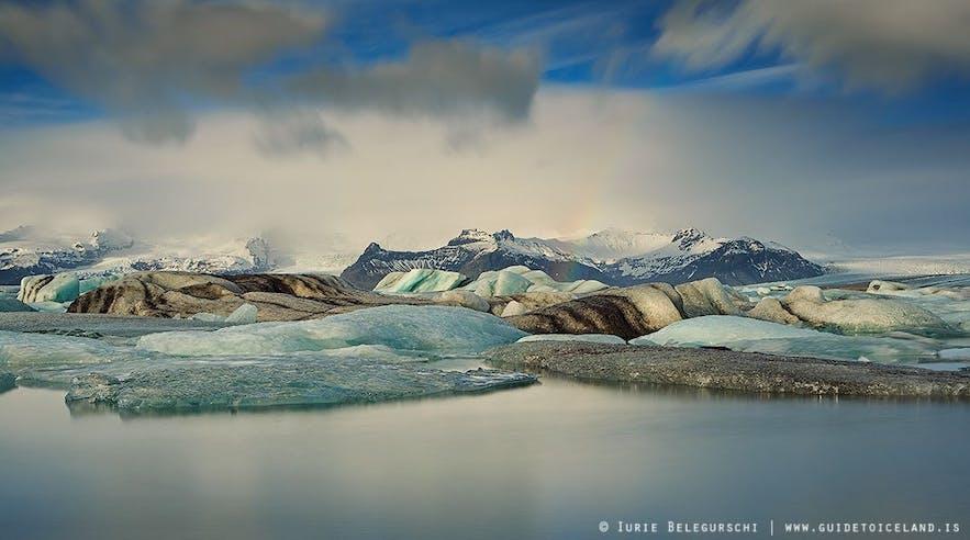 Issjön Jökulsárlón vid glaciären Vatnajökull, nära Skaftafell