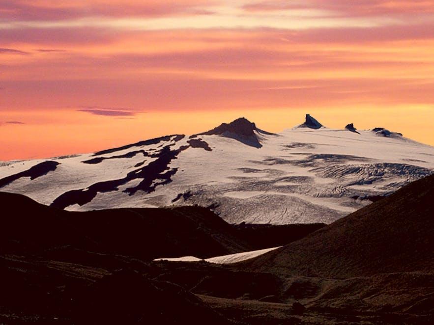 Der Snaefellsjökull-Gletscher auf der Halbinsel Snæfellsnes