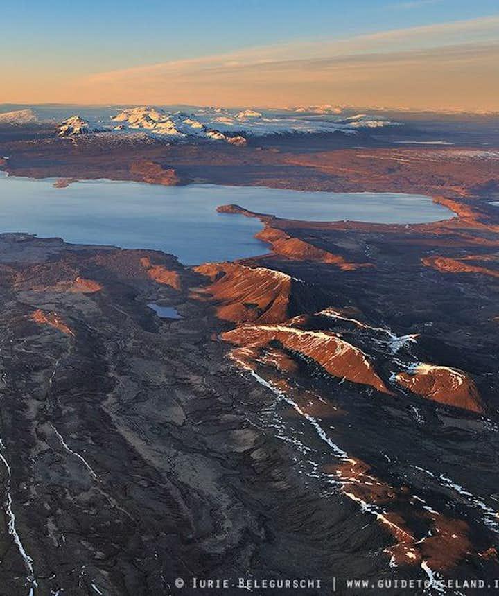 Aerial view over Þingvellir National Park