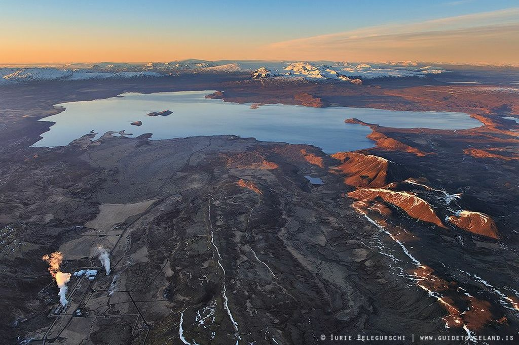 Aerial view over Þingvellir National Park