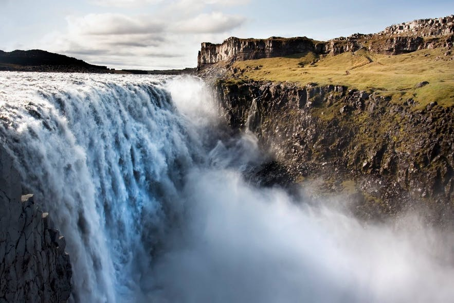 Dettifoss waterfall is in North Iceland and is the most powerful waterfall in Europe