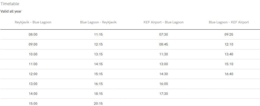 冰島藍湖溫泉巴士時間表