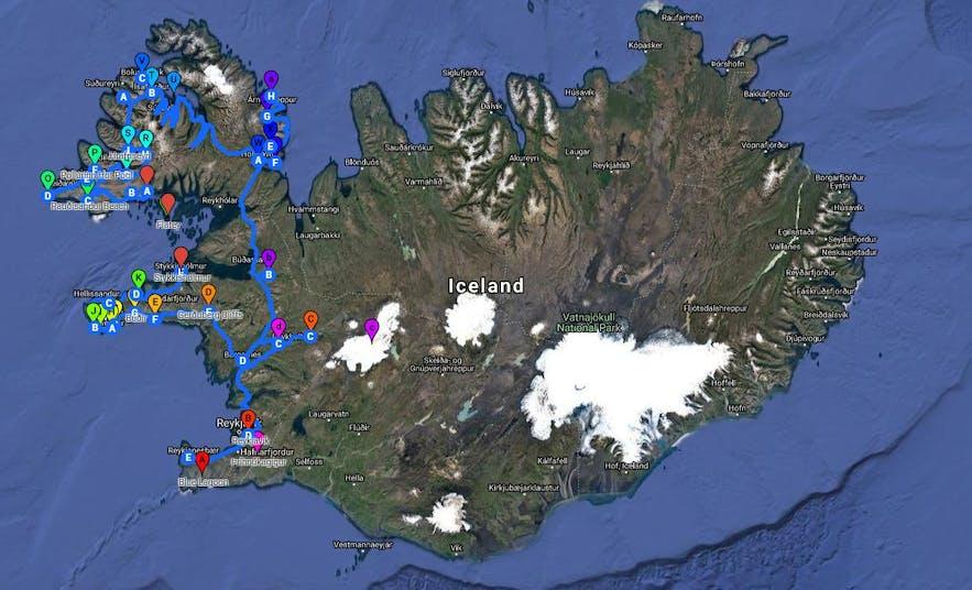 从冰岛首都雷克雅未克自驾途径斯奈山到达西峡湾线路地图