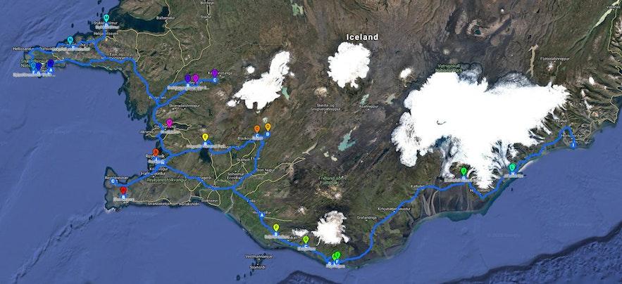 冰岛自驾地图:冰岛的西部以及南岸一线,可以慢节奏自驾,7天到12天,深度游览