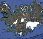 The map of the itinerary for the 8 Day Summer Vacation Package with Guided Ring Road Tour of Iceland