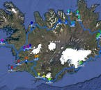 The map of the itinerary for the 11 Day Summer Package travelling the Ring Road of Iceland with an Experienced Local Guide