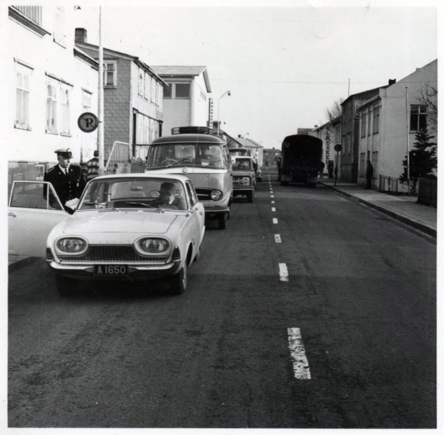 An image of the day in 1968 when Iceland switched to driving on the right-hand side of the road