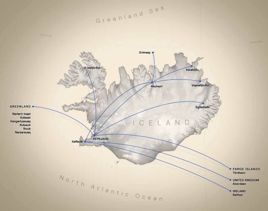 The route map of flight services provided by Air Iceland Connect.