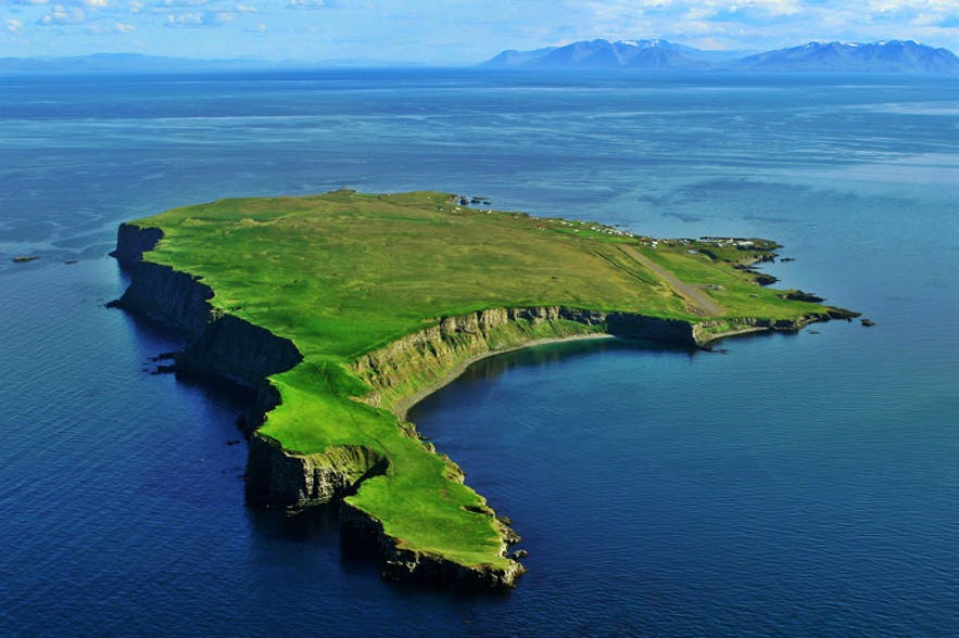 The island of Grímsey in Iceland's north straddles the arctic circle.