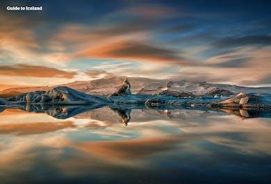Feuerwerk über der Gletscherlagune Jökulsarlon
