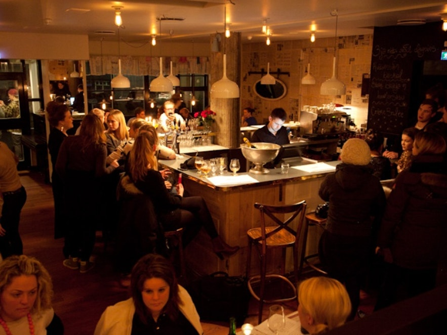 Inside Snaps restaurant in Reykjavík