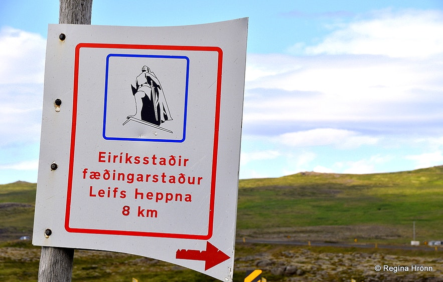 The information sign for Eiríksstaðir Viking longhouse