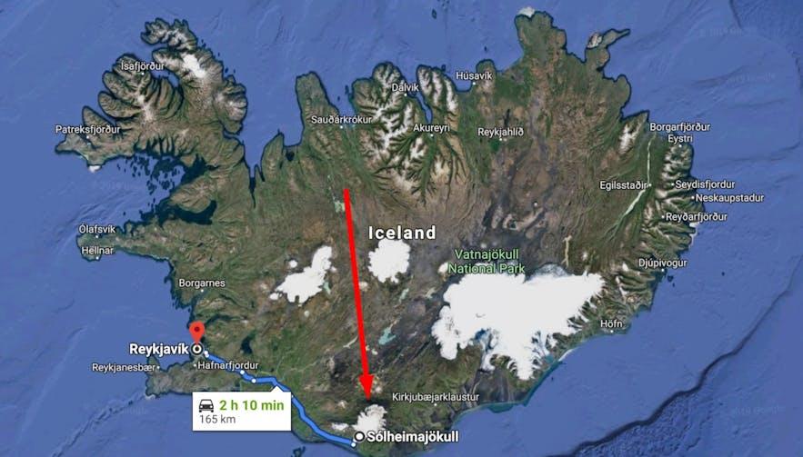 미르달스요쿨 빙하 위성사진