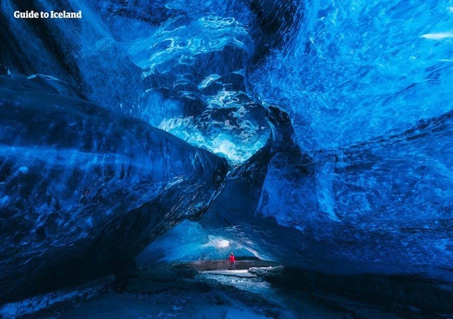 The stunning crystalline interior of an Icelandic ice cave.