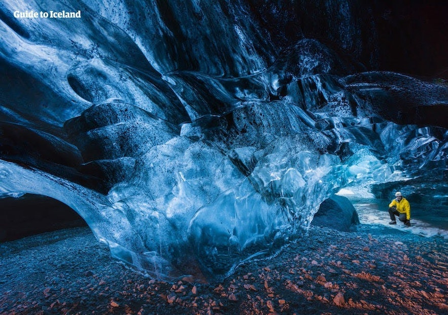 People travel from around the world to visit ice caves in Iceland.