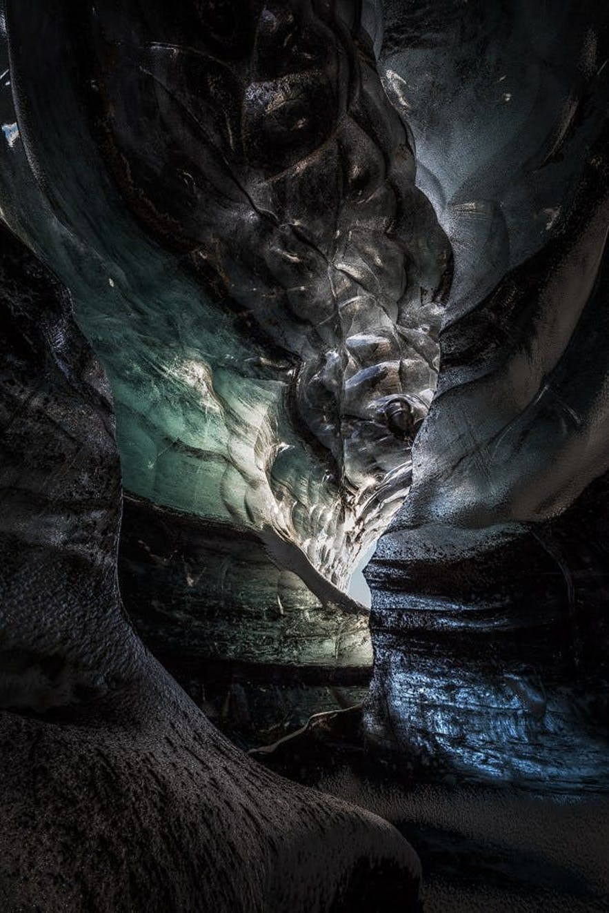 Ice caves can be dark and mysterious places.