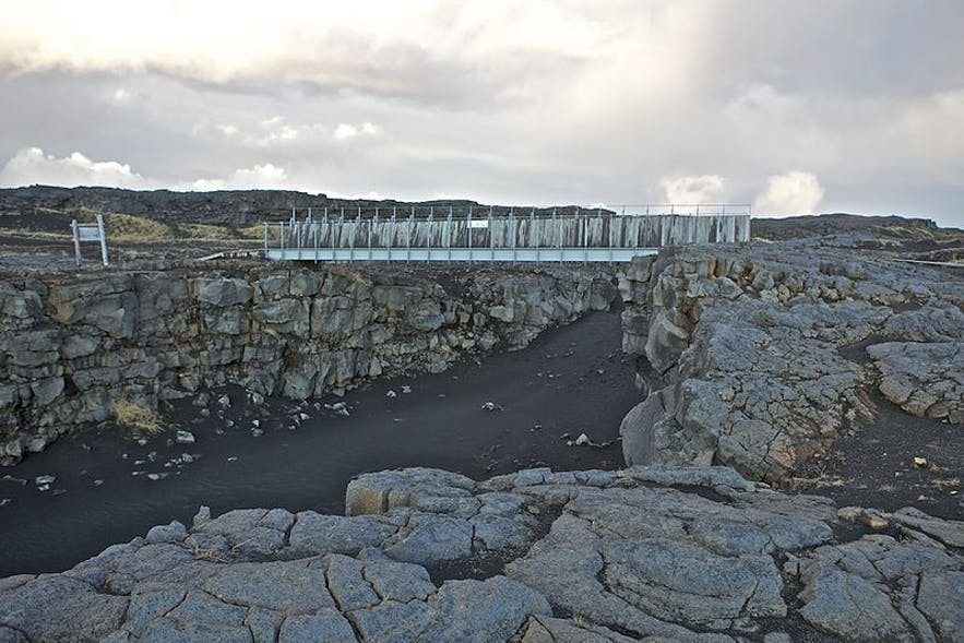 The Bridge Between the Continent at Sandvik is on the Reykjanes Peninsula.