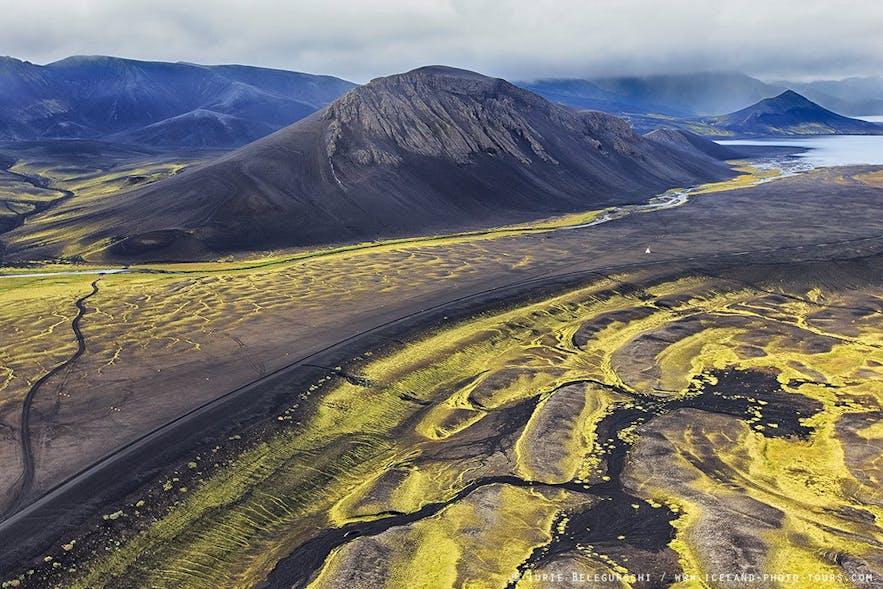 아이슬란드 중부 고원지대의 아름다운 풍경