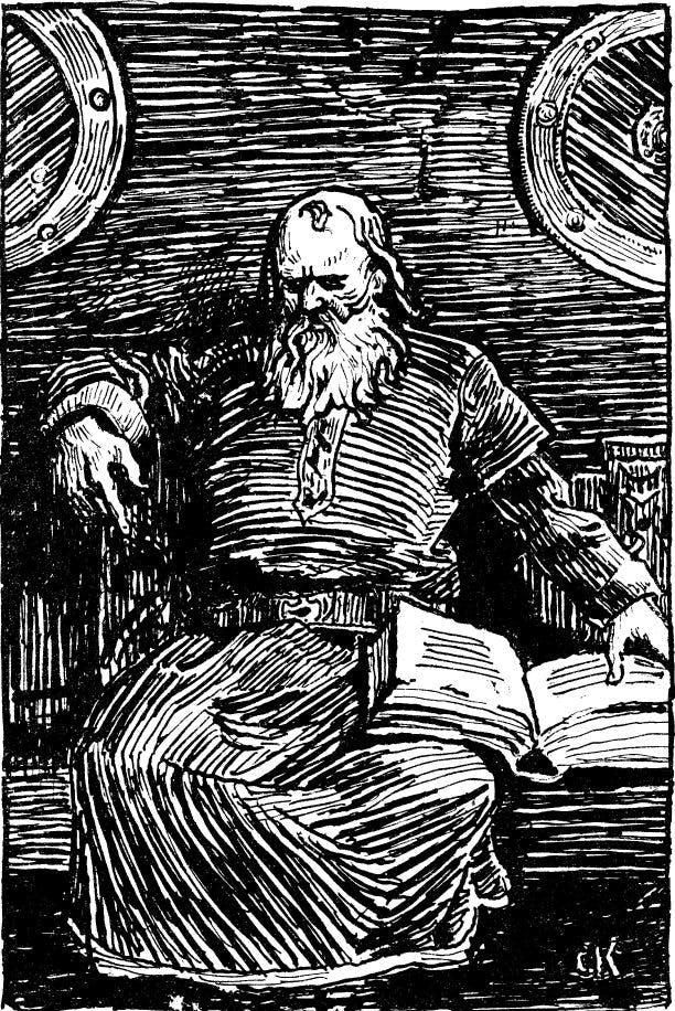 Snorri Sturluson as depicted by Christian Krogh