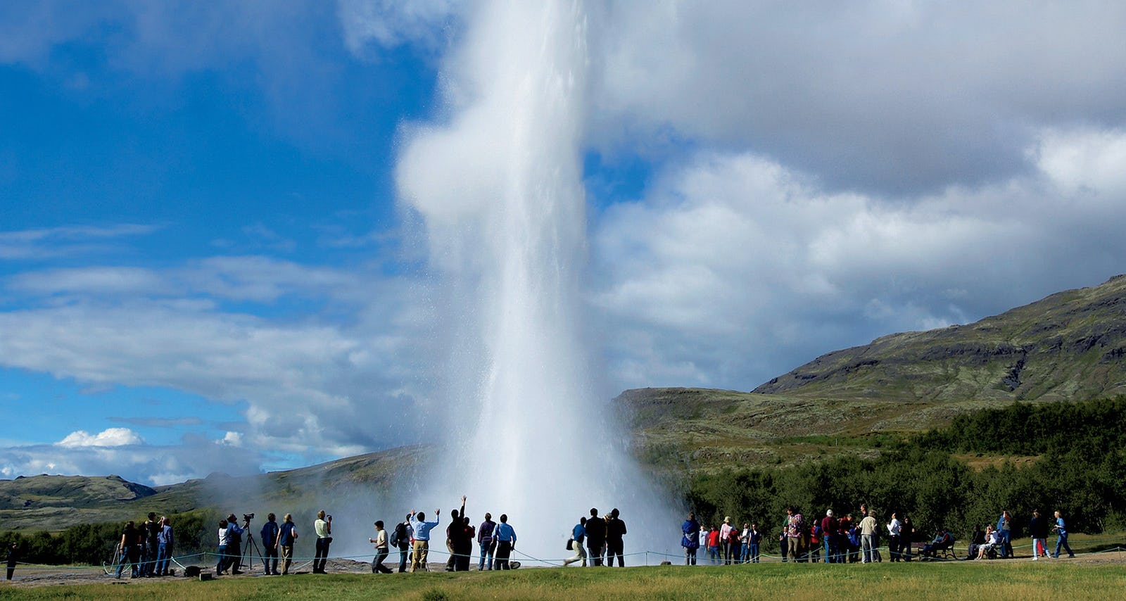 Strokkur is the most active geyser in the Geysir Geothermal area on Iceland's Golden Circle