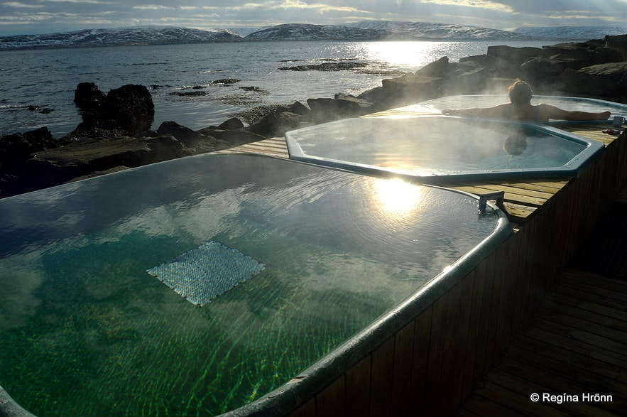 The hot tubs by the sea in Drangsnes Westfjords
