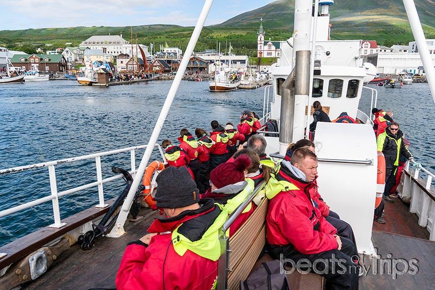 Así son los barcos para el avistamiento de ballenas en Husavik, preparados listos ya!