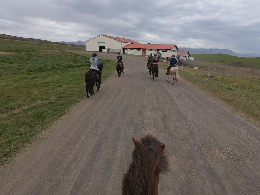 Reiter verlassen isländische Pferdefarm.