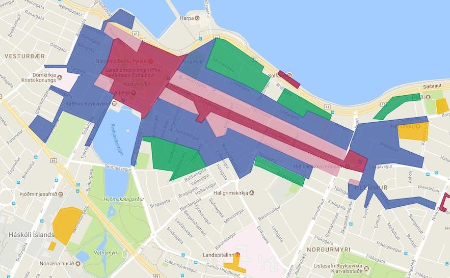 레이캬비크 도심의 주차 지역 지도