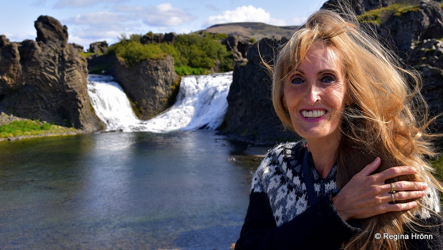 Regína by Hjálparfoss waterfall