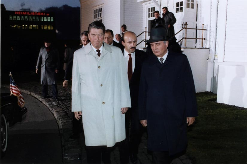 U.S. President Ronald Reagan and Soviet leader Mikhail Gorbachev met in Reykjavik in October 1986 to discuss nuclear disarmament. Sadly the talks collapsed at the last minute