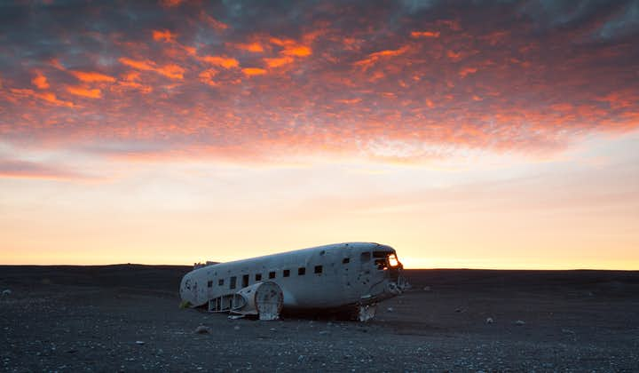 Wygodny transfer do wraku samolotu DC-3 na czarnej pustyni w Solheimasandur