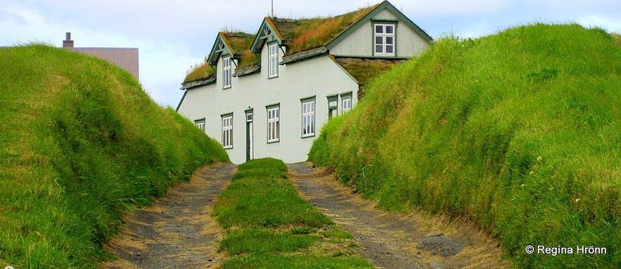 아이슬란드 북부의 모던한 잔디 주택 그라이나바튼