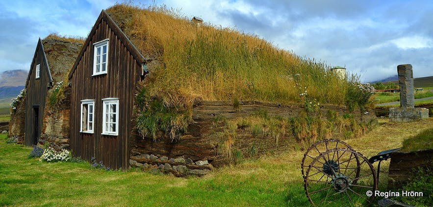 Stóru-Akrar is an excellently preserved turf house in Iceland.