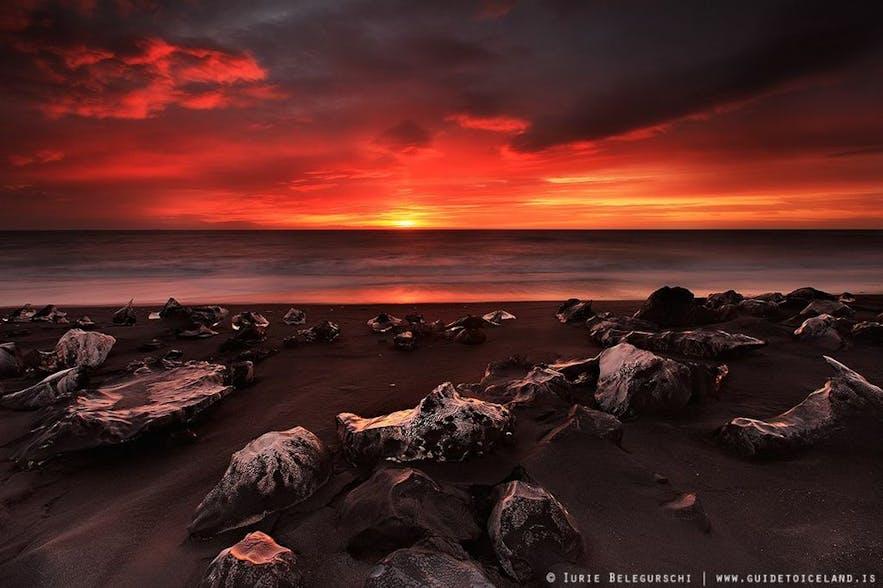Die Sonne im Winter in Island
