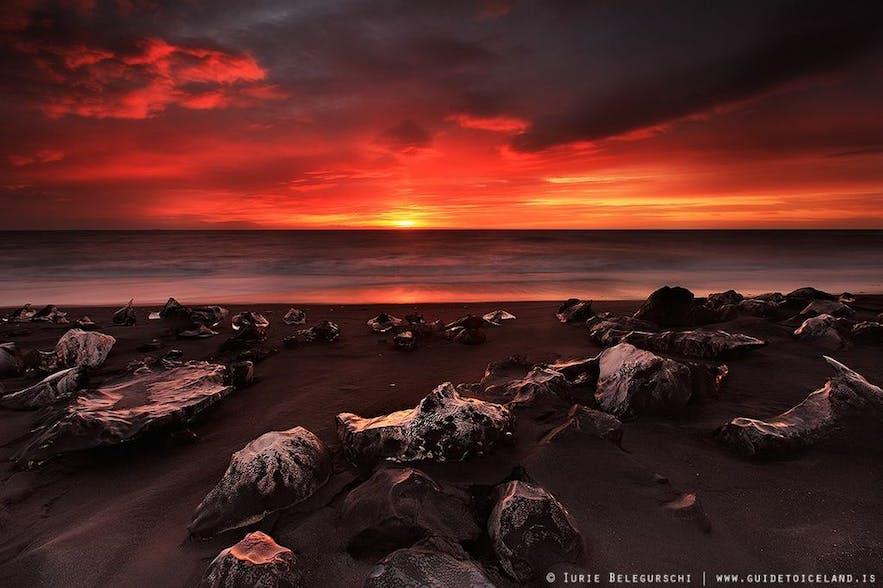 Zachód słońca latem na Islandii, Diamentowa Plaża