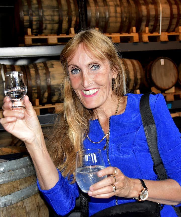 Regína at Eimverk Distillery whiskey tasting in Iceland