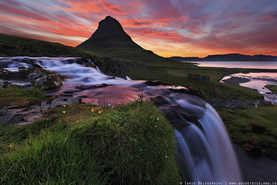Kirkjufellsfoss is located on the north side of Snaefellsnes peninsula in west Iceland