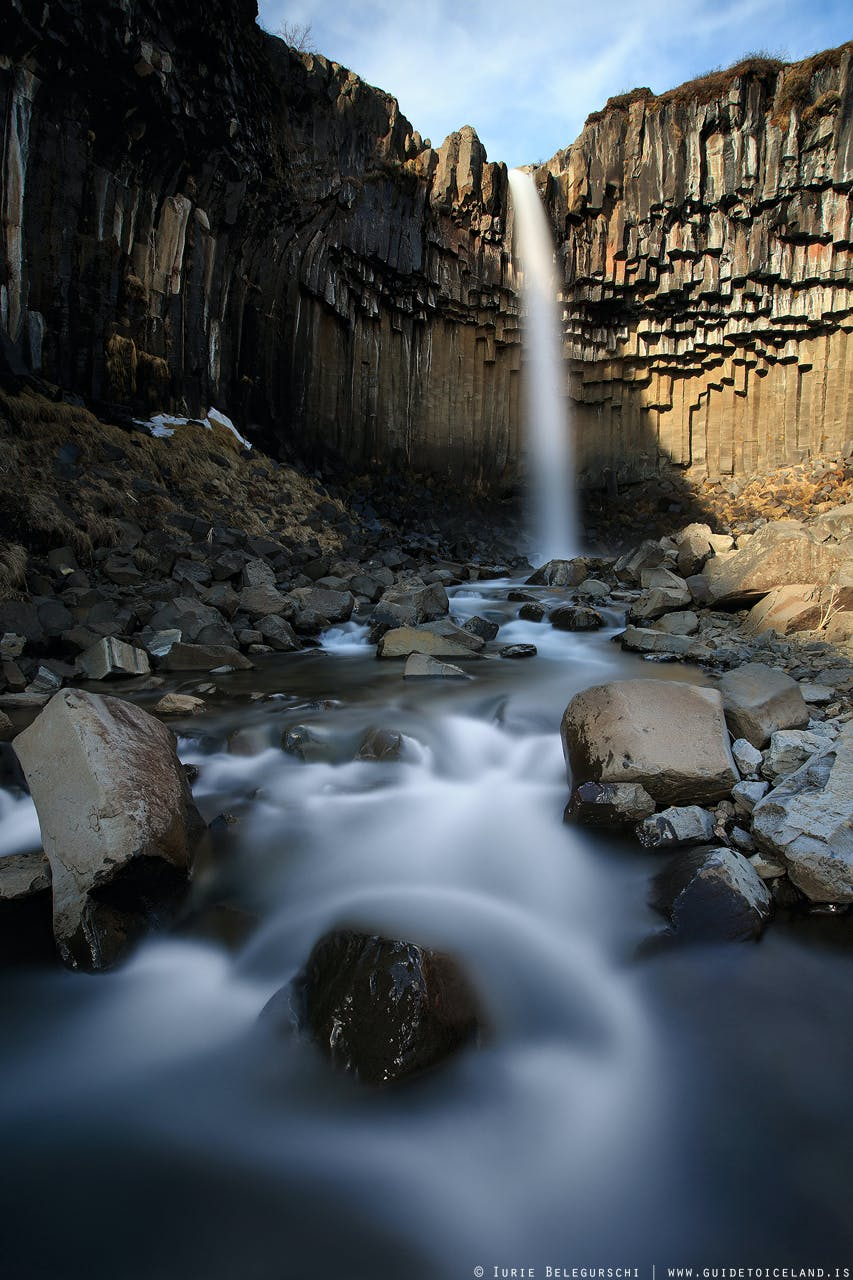 Svartifoss waterfall is located in Skaftafell National Park in Southeast Iceland
