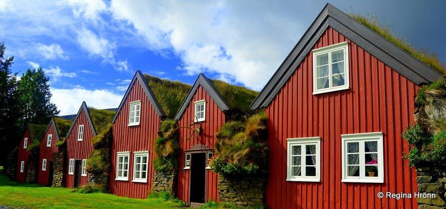 아이슬란드 북부의 잔디 주택 뷔스타르페들