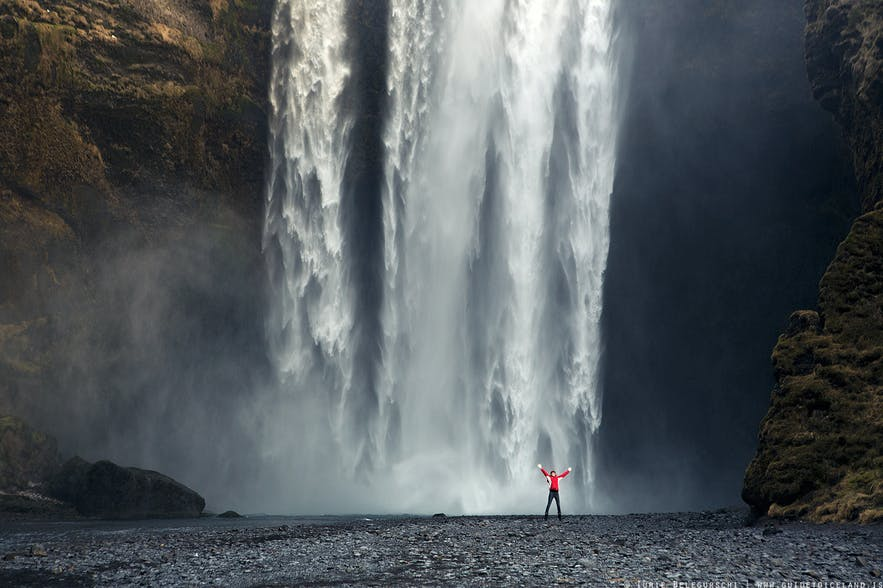 Skógafoss is located on the South Coast of Iceland close to the Skógar area