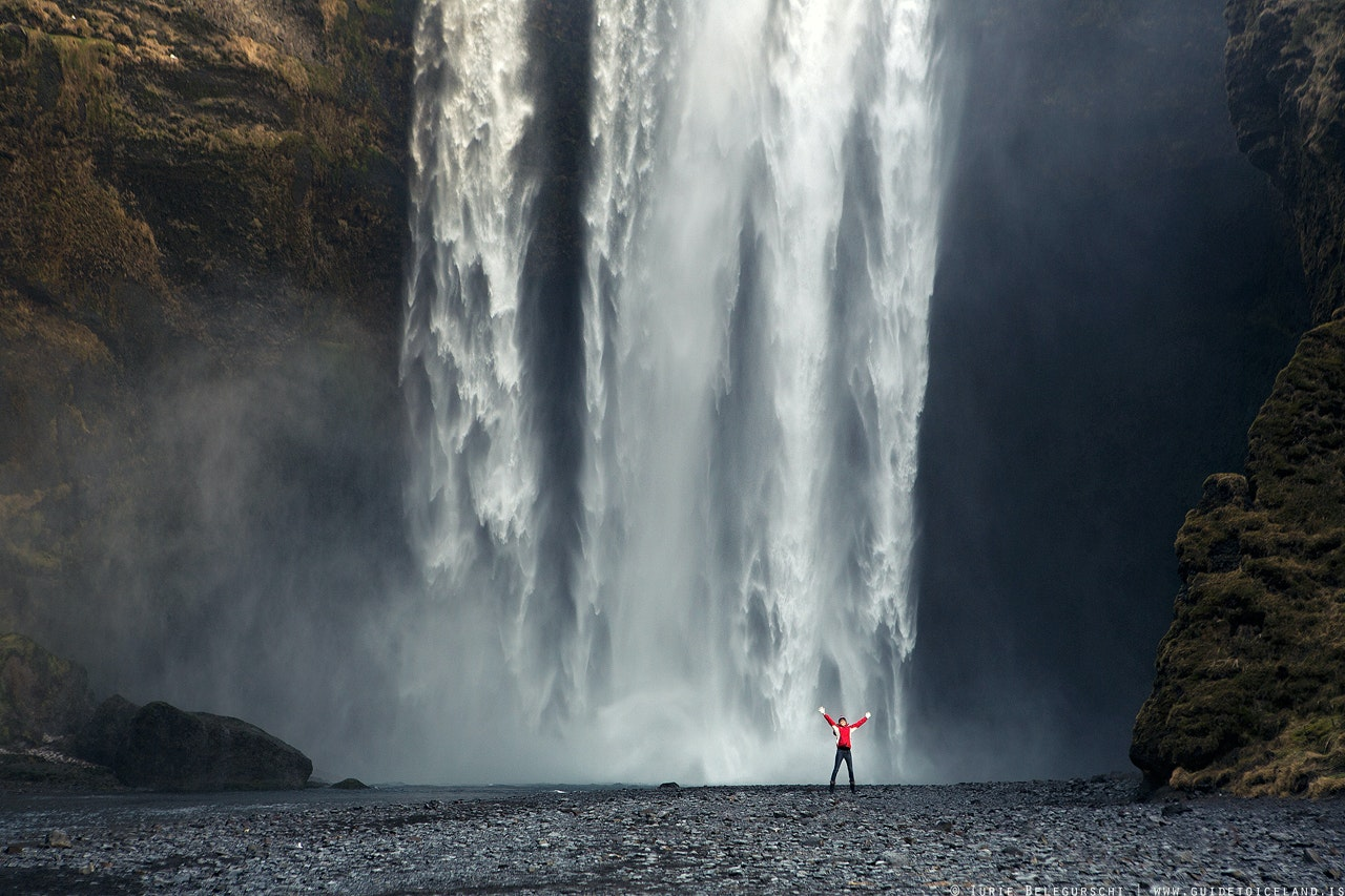 Skogafoss is located on the South Coast of Iceland close to the Skogar area