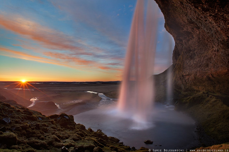 Seljalandsfoss waterfall is located on the South Coast of Iceland